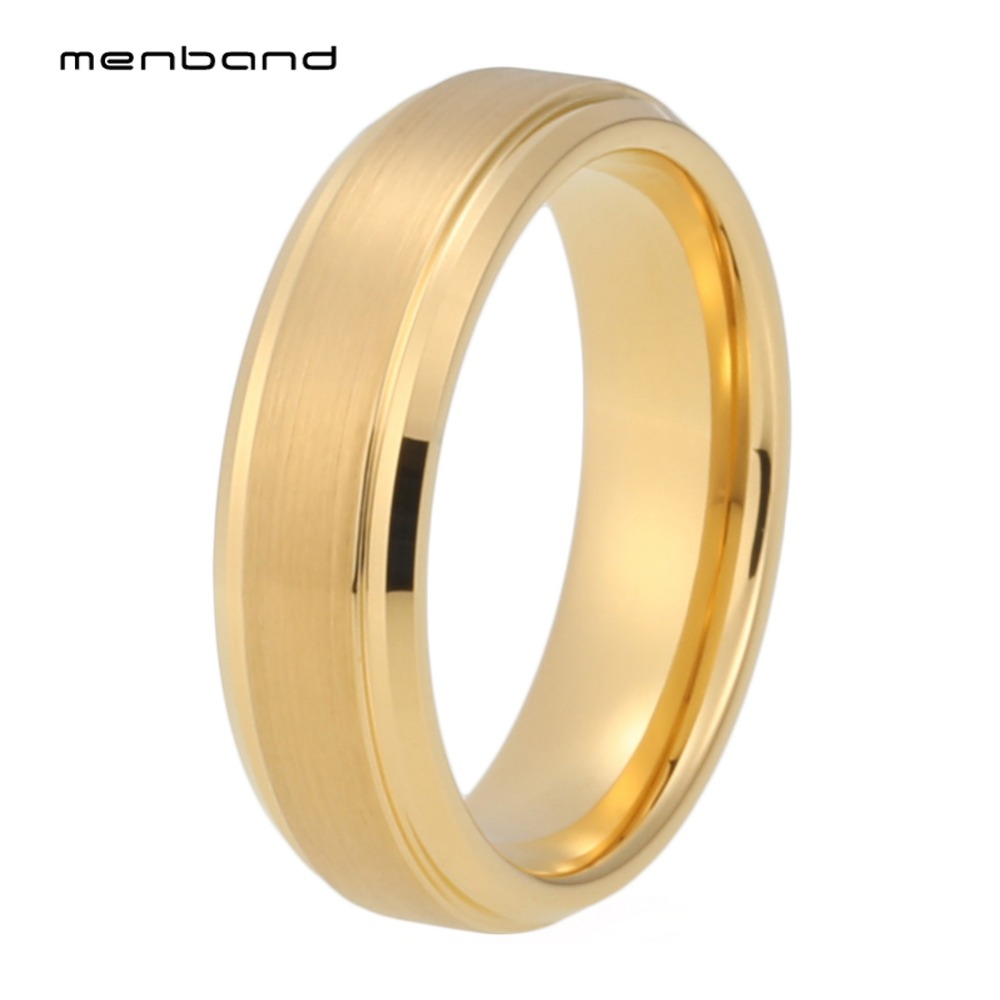 Women Rings 6MM Tungsten Engagement Ring With Stepped Bevel Edges And Comfort Fit
