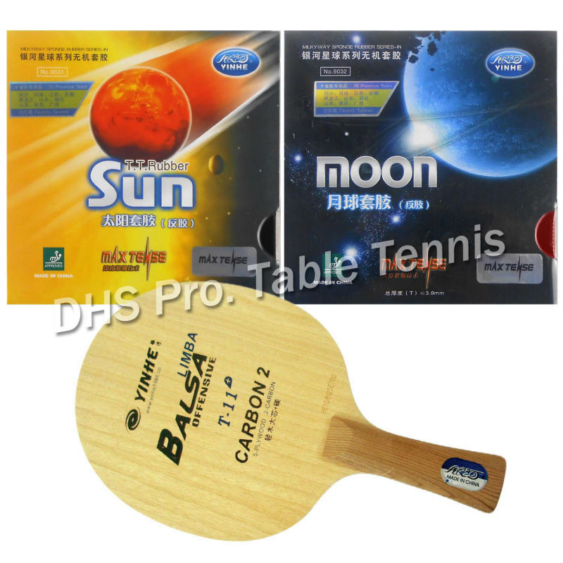 Pro Table Tennis Combo Paddle Racket  Galaxy YINHE T-11+ with Sun and Moon Factory Tuned shakehand Long Handle FL