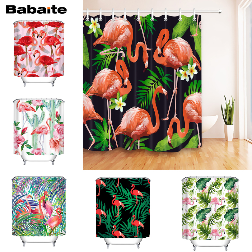 Babaite Tropical Pink Flamingo Shower Curtain Eco-friendly Waterproof Polyester Fabric Bathroom Leaves Rideaux