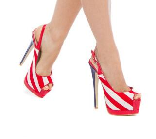 2019 explosion models hot open toe high heel sandals Fashion Red And White Peep Toe Slingback Heels Stripe Platform Sandals2019 explosion models hot open toe high heel sandals Fashion Red And White Peep Toe Slingback Heels Stripe Platform Sandals