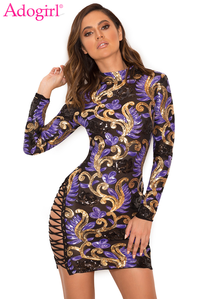 adogirl 2018 brand new colorful sequins women sexy club