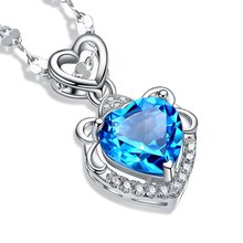 RUOYE New 2016 Fashion Luxury Purple Blue Crystal Necklace Pendants Women Love Heart Design Amethyst Girl Gift Silver Jewelry