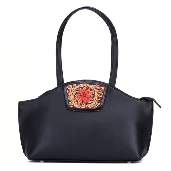 a1bb963ad3 De Top La Noir Cuir Main Grand En Gravé D'épaule Poignée Véritable Dames  Simple bourgogne Sac À Vintage Style Fleur Chinois Noir Femmes BwqAv6A