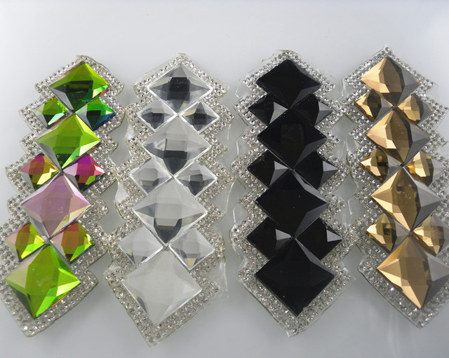 Diy Hotfix iron clear black colorful champagne glass crystal round square  faceted rhinestones clothing applique decoration 1pc 28acafa47c7d