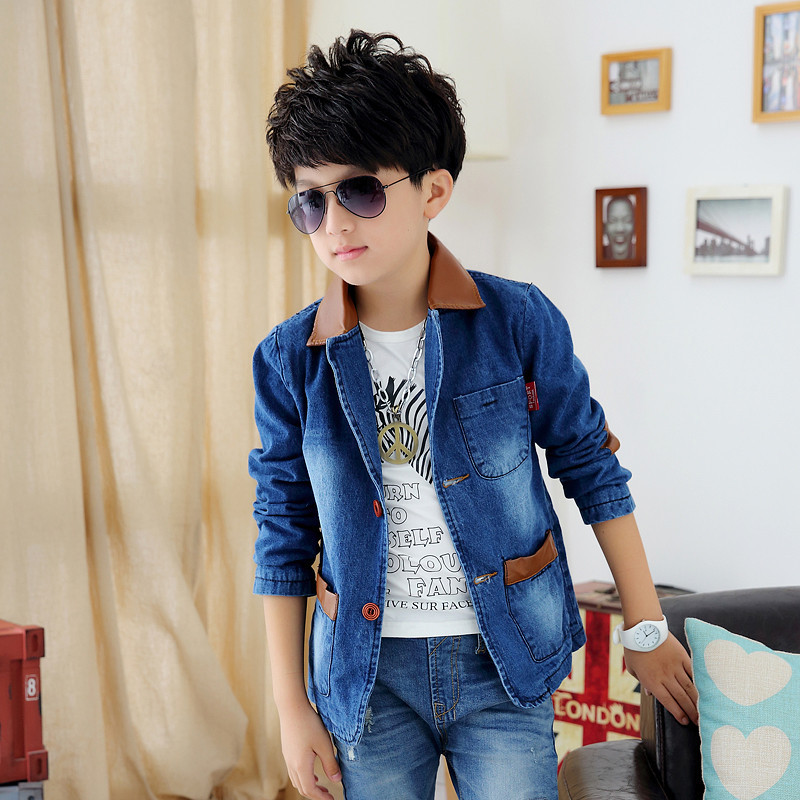 купить boys blazer 2015 Spring And Autumn New Style Years Children's Clothes Big Boy Cowboy Suit big boy blazers по цене 1604.06 рублей