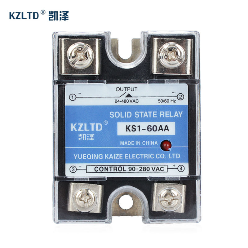 цена на New Relay 12V 60A Single-Phase-AC-Drive Solid Relays SSR-60AA 90~280V AC to 24~480V AC rele 220V KS1-60AA temporizador