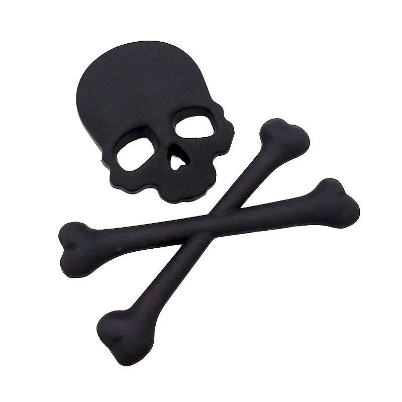 3D Skull Metal Frame Cross Bone Car Motorcycle Sticker Label ...
