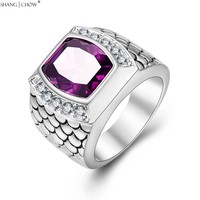 2017 New Fashion Charm Jewelry With Huge Purple Quartz Stone 925 Sterling Silver Ring For Male