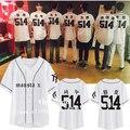 MONSTA X with a baseball uniform T-shirt and loose couples dress shirt dress should open it