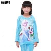4 15Year Cartoon Anna Elsa Girls Pajama Sets Plush Warm Toddler Girls Sleepwear Clothes Baby Pants