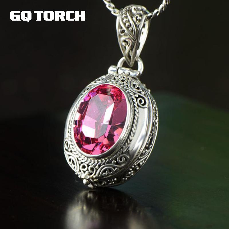 925 Sterling Silver Gawu Box Openable Floating Locket Pendant For Women Inlaid Natural Green And Pink Crystal Gemstone