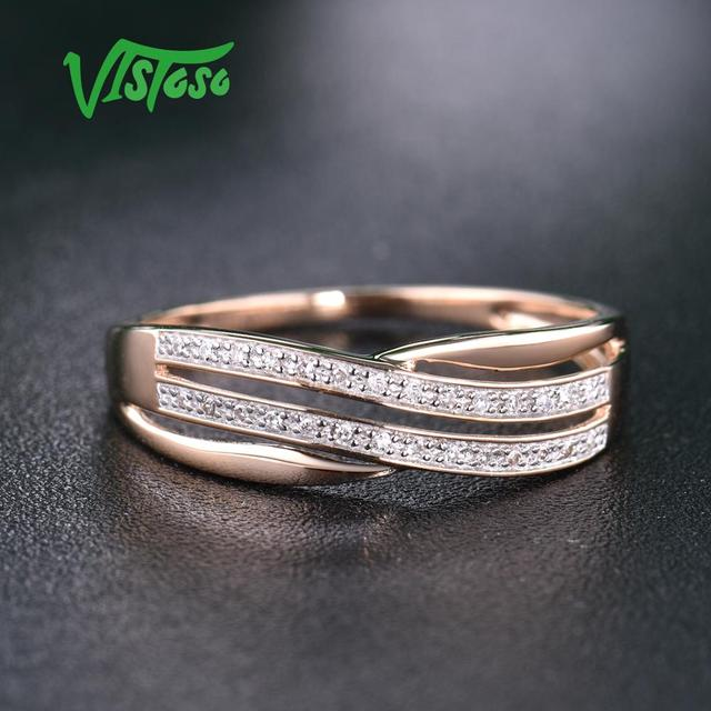 VISTOSO Genuine 14K 585 Rose Gold Chic Rings For Lady Sparkling Diamond Engagement Anniversary Simple Style Eternal Fine Jewelry 8