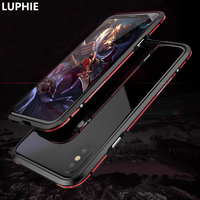 LUPHIE For Apple IPhone X Case Cover Luxury Hard Metal Aluminum Frame Shockproof Bumper Phone Case