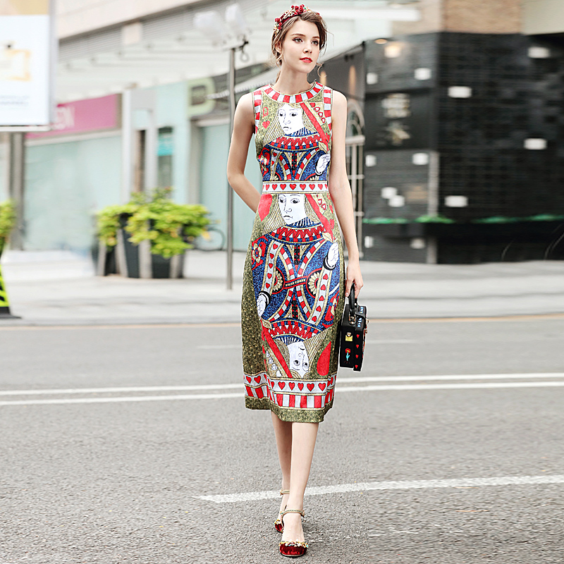New High Quality Runway Christmas 2018 Spring Summer Fashion Women Party Office Vintage Girls Poker Print