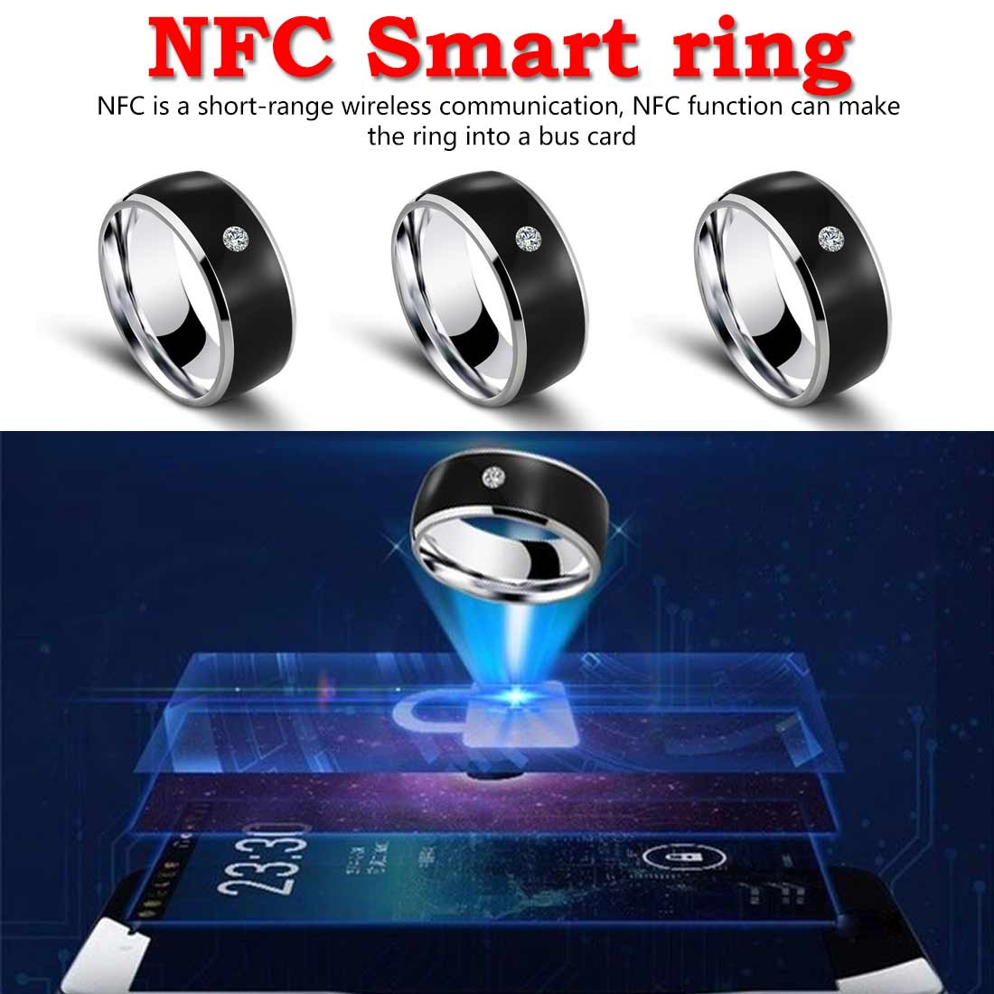 R3F <font><b>Smart</b></font> Ring Tragen Magie Finger NFC Ring IC ID Karte für Android <font><b>Windows</b></font> NFC Handy Wasserdicht <font><b>Smart</b></font> Ring image