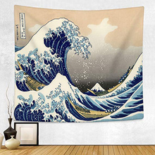 Enipate Kanagawa Waves Printed Hanging Tapestry Whale Arowana Wall Hanging Tapestries Boho Bedspread Yoga Mat Blanket 200*148cm oversized whale round mat