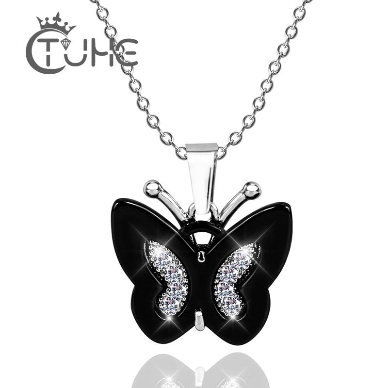 1fa7568f22ae Material saludable mariposa colgante collar moda plata rosa azul negro  Color cristal mariposa Collar ...