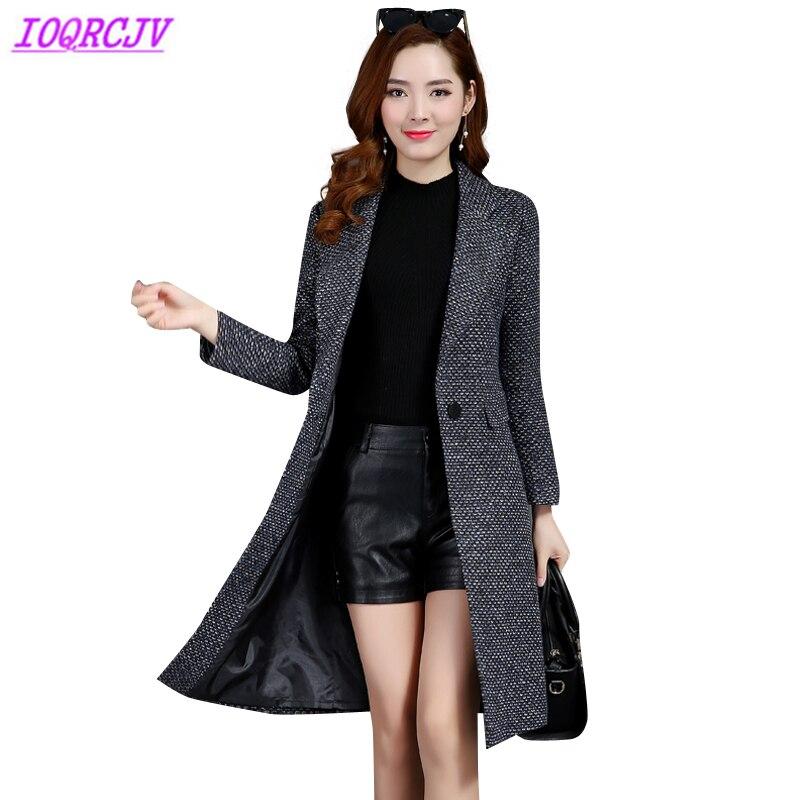 2018 Boutique Women Spring Autumn Plaid Woolen cloth Coat Plus size Fashion Slim Houndstooth Woolen Outerwear
