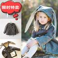 Ins HOT 2016 autumn winter plus velvet three-dimensional rabbit ears JACKETS COAT child baby woolen COAT KIDS WINTER CLOTHES