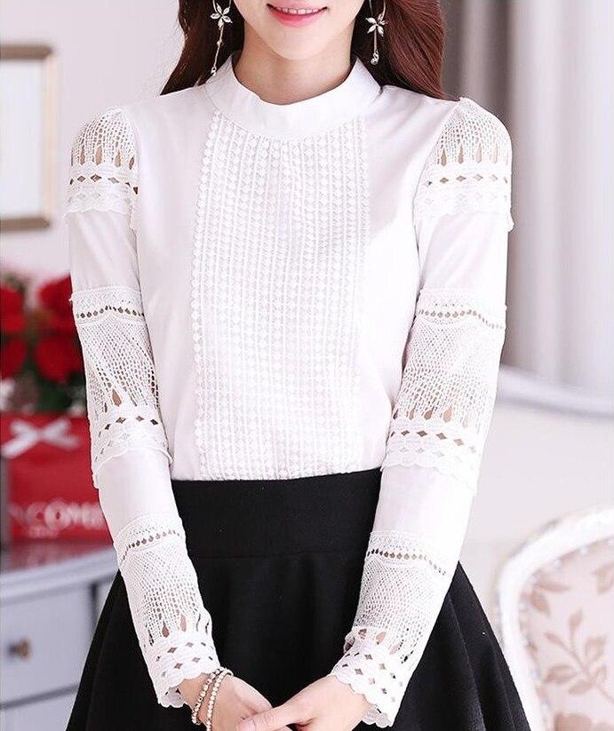 ▻S-XXL blusa renda elegante Encaje crochet mujer blusa Hollow out ...