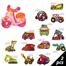 2 Pieces Car Embroidered Patch Iron on Clothes Stickers Ironing Patches for Clothing Cap Children Cartoon Badges applique DIY 2 pieces car embroidered patch iron on clothes stickers ironing patches for clothing cap children cartoon badges applique diy
