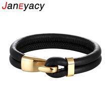 Janeyacy креативный черный Многослойный кожаный браслет для мужчин Pulseira браслет из нержавеющей стали с якорем модные браслеты подарки браслеты