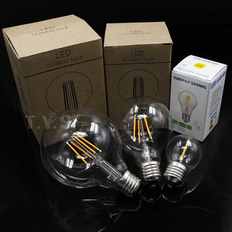 YNL Antigo Retro Vintage Edison Lâmpada LED E27 LED Filament Luz G45 G80 G95 AC220V 240V 2W 4W 6W 8W Lampada LEVOU Bulbo De Vidro