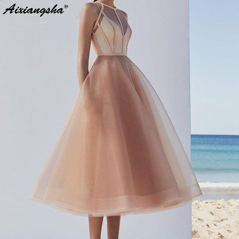 Élégant retour robe licou Champagne robes de bal courtes 2019 haute qualité thé longueur une ligne Organza filles pas cher sur mesure