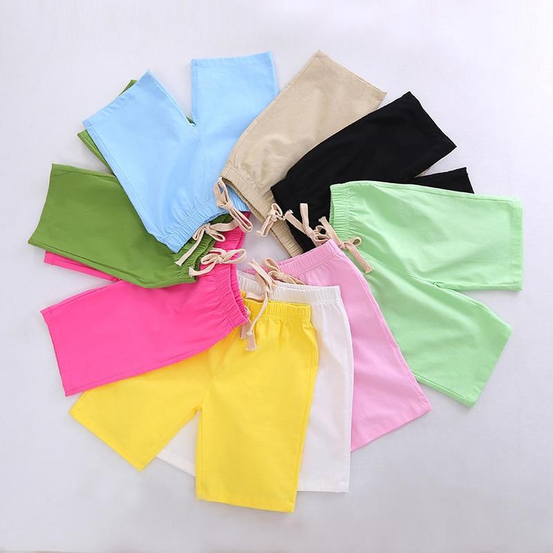 2-10 Yrs Kids Boys Trousers Knee Lenth Shorts Candy Color Girls Children Summer Beach Loose Shorts Pants Cotton&Linen 6