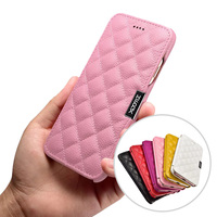 XOOMZ TOP Genuine Leather Case For IPhone 7 6S 6 Plus 7 6S 6 Grid Check