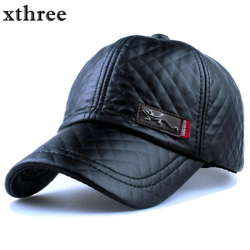 Prix pour Xthree Nouvelle mode haute qualité faux Casquette de cuir automne hiver chapeau casual snapback casquette de baseball pour hommes femmes chapeau en gros