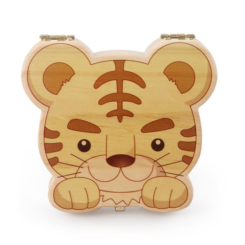Cute Naughty Tiger Wooden Personality Tooth House Baby Souvenir Deciduous Box Birthday Gift Christmas Babies Gift
