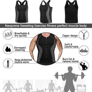 Image 5 - Mens Neoprene Workout Zipper No Zip Tank Tops Sweat Sauna Suits Waist Trainer Slimming Body Shaper Thermo Gym Vest Black