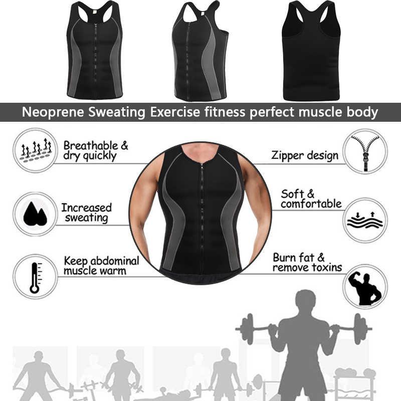 04df05df0a53 ... Men s Neoprene Workout Zipper No Zip Tank Tops Sweat Sauna Suits Waist  Trainer Slimming Hot Body ...
