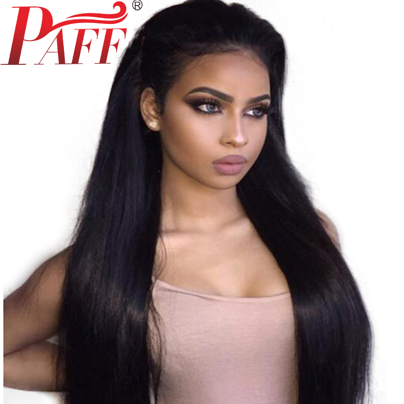 PAFF 13*6 Lace Front Human hair Wig Silky Straight Peruvian Remy Hair Pre Plucked Wig With Natural Hairline Baby Hair Free Part