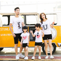 Summer Mother Daughter Outfits Family Matching Clothes Cotton T Shirts Family Clothing Suit