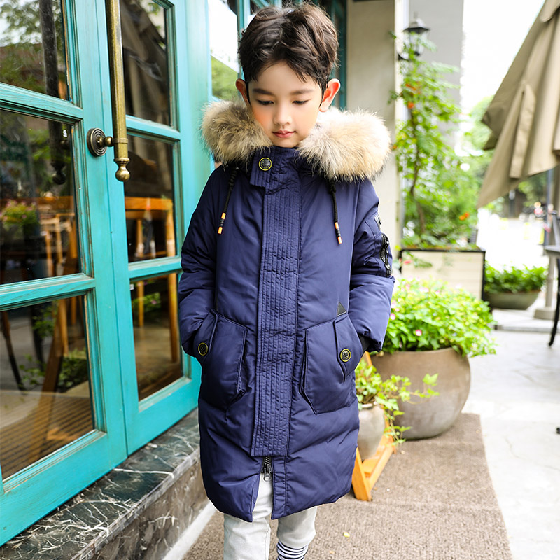 цена HSSCZL Boys White Duck Down jackets 2018 Brand New Winter Thicken Long Style Hooded Natural Fur Collar Overcoat outerwear 7-14A