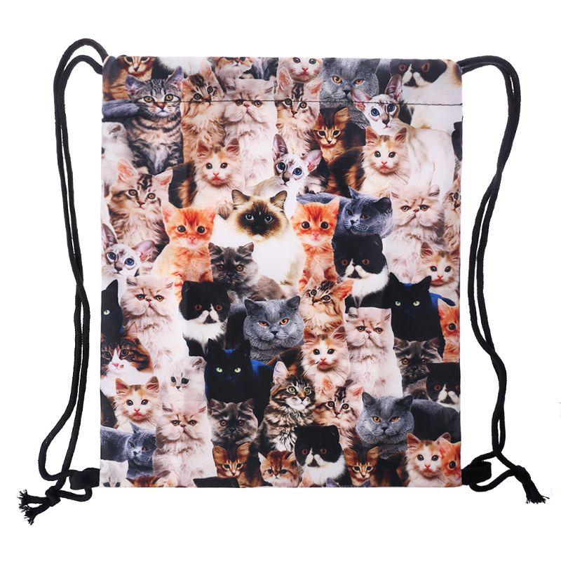 Black Cat Drawstring Backpack Rucksack Shoulder Bags Training Gym Sack For Man And Women
