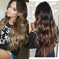 Full Shine 10pcs Dip Dyed Ombre Color Balayage Clip in Hair Extensions Color 1B Fading to #6 and #27 Brazilian Remy Hair