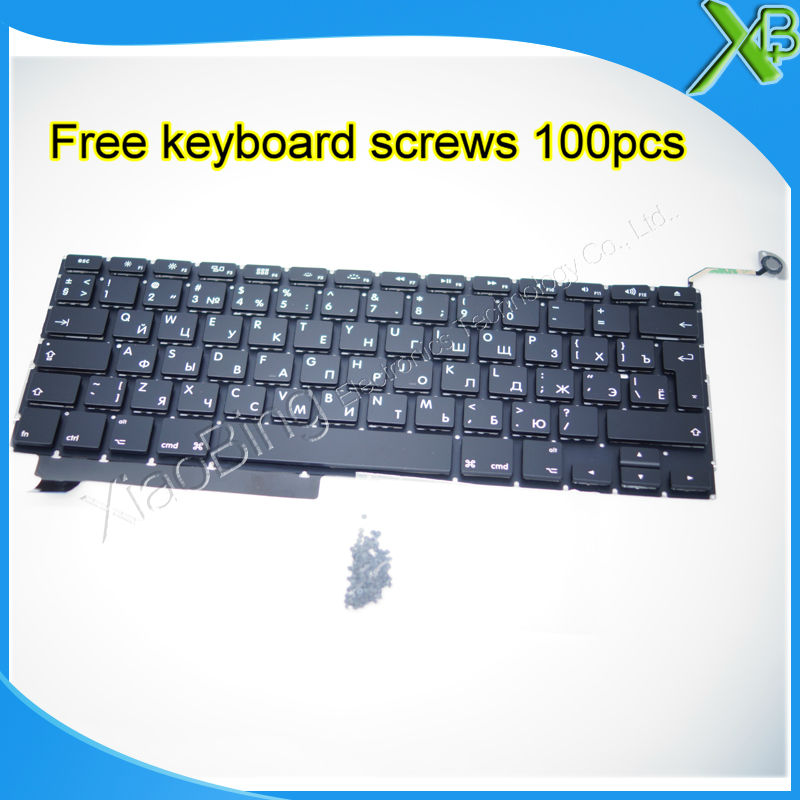 Brand New RU Russian keyboard+100pcs keyboard screws For MacBook Pro 15.4