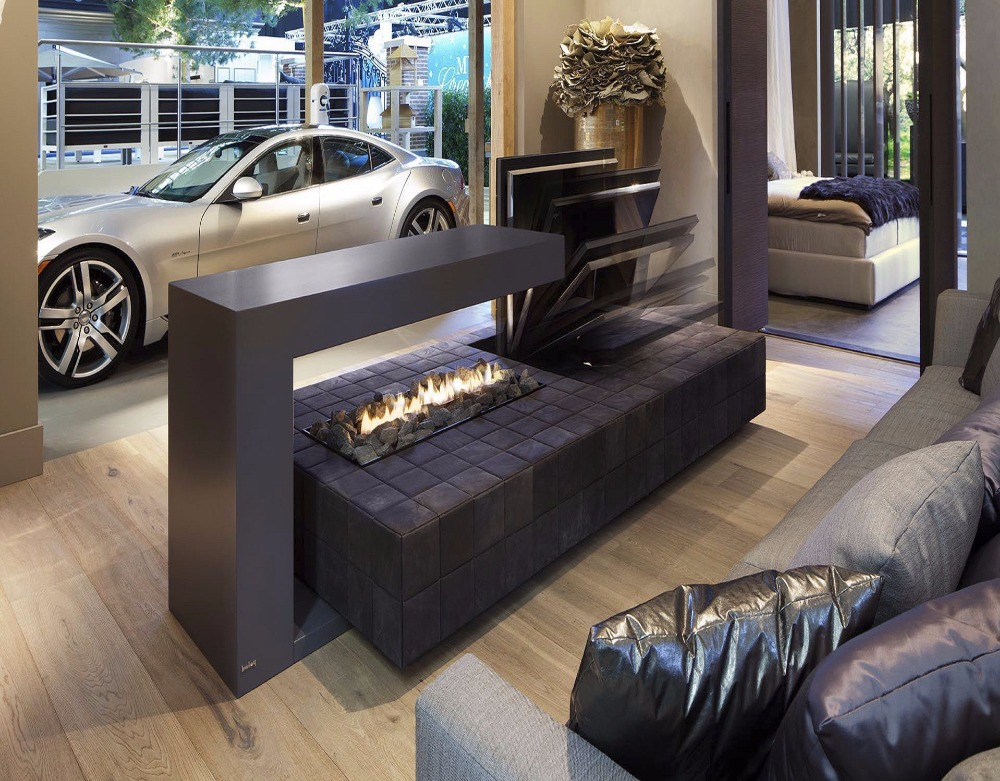 On Sale  24 Inch Black Wifi Intelligent Ethanol Fireplace Insert Burner