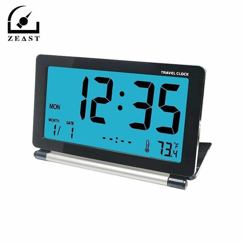 Mini Estação Meteorológica Digital LCD Despertador de Viagem Dobrável Desk Temperatura Simples Alarme Eletrônico Com Luz de Fundo