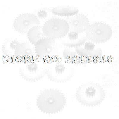 цены 20 Pcs White Plastic 2 Layers 17mm Dia 1.5mm Thickness Gear Wheels