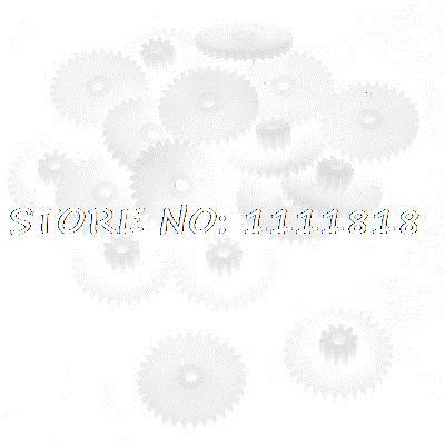 цены 20 Pcs White Plastic 2 Layers 17mm Dia 1.5mm Thickness Gear Wheels