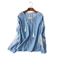 Women Embroidery Denim Shirt 2017 New Fashion Long Sleeve Lace Up Jeans Blouse High Quality Spring