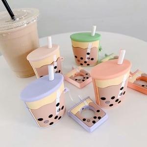 Image 4 - Wireless Bluetooth Earphone Case silicone soft bubble tea milk cream tea pattern case for airpods 1/2 BIA124