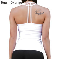 HEAL ORANGE Sexy Backless Yoga Shirts With Bra Sport Shirts Women Quick Dry Fitness Yoga Top