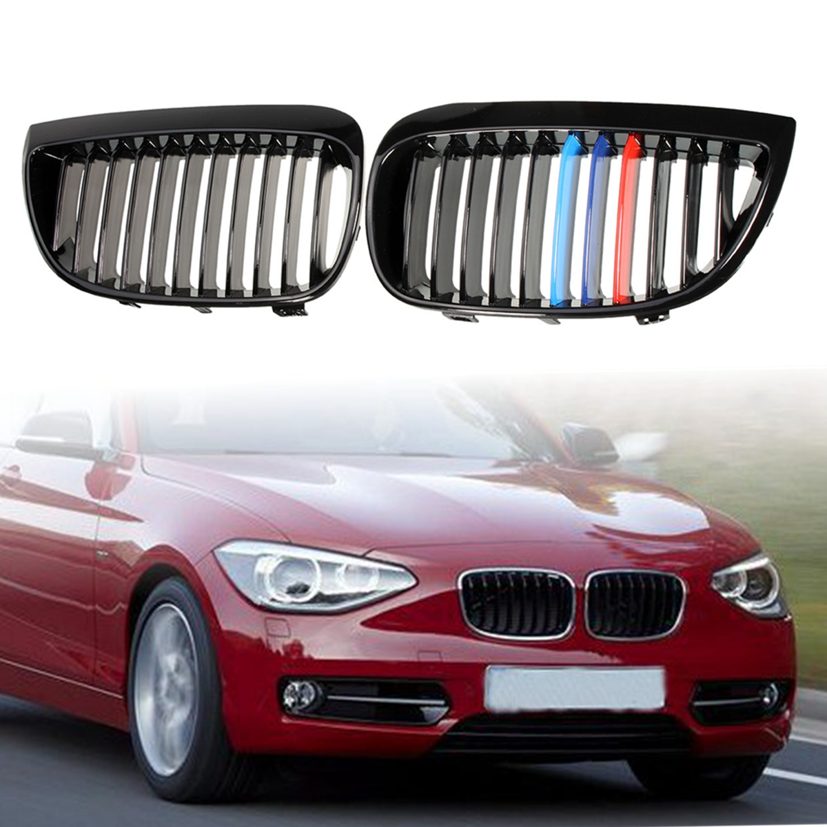 Pair Shiny Black M-Style Car Sport Kidney Grill Grille For BMW E87 E81 1Series 2004 2005 2006 2007