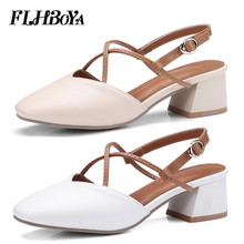 2019 New Women Summer Ankle Strap Block Heels Sandals Ladies woman Chunky Med High Buckle Shoes Beige White Femme