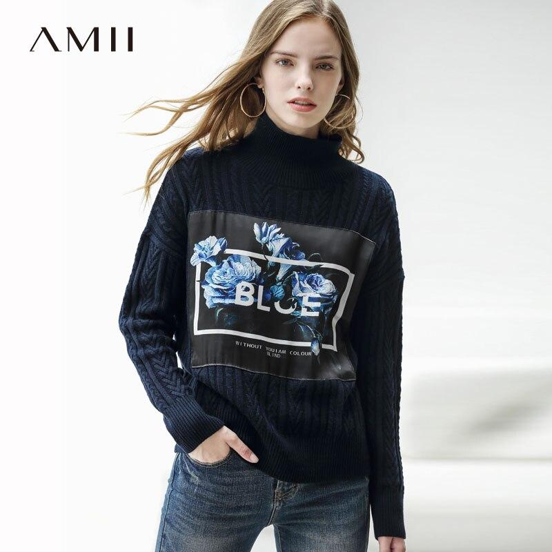 Amii Minimaliste Col Roulé Chandail Femmes Hiver 2019 de Causalité Solide Appliques Floral Épais Côtelé Top Tricoté Pull Chandails